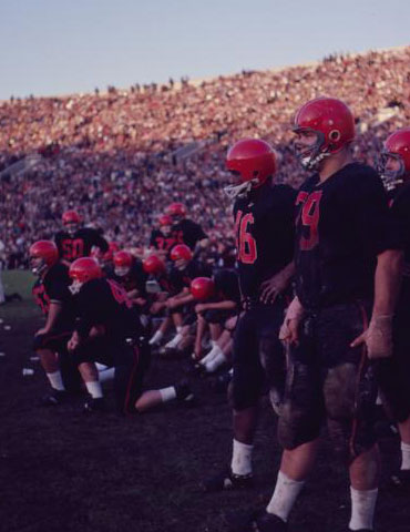 Oregon State players on the sideline at the Rose Bowl, Oregon State University Athletics