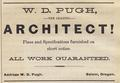 Advertisement, W. D. Pugh, Architect