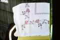 French knot embroidered bridge cloth made by Betty Jane Muckleroy in about 1932 in Wichita, Kansas. 36 inch square.