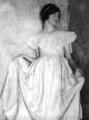 Young woman in gown, by oval picture