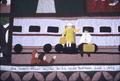 Memorial applique, detail of train arrival scene and dedication to son
